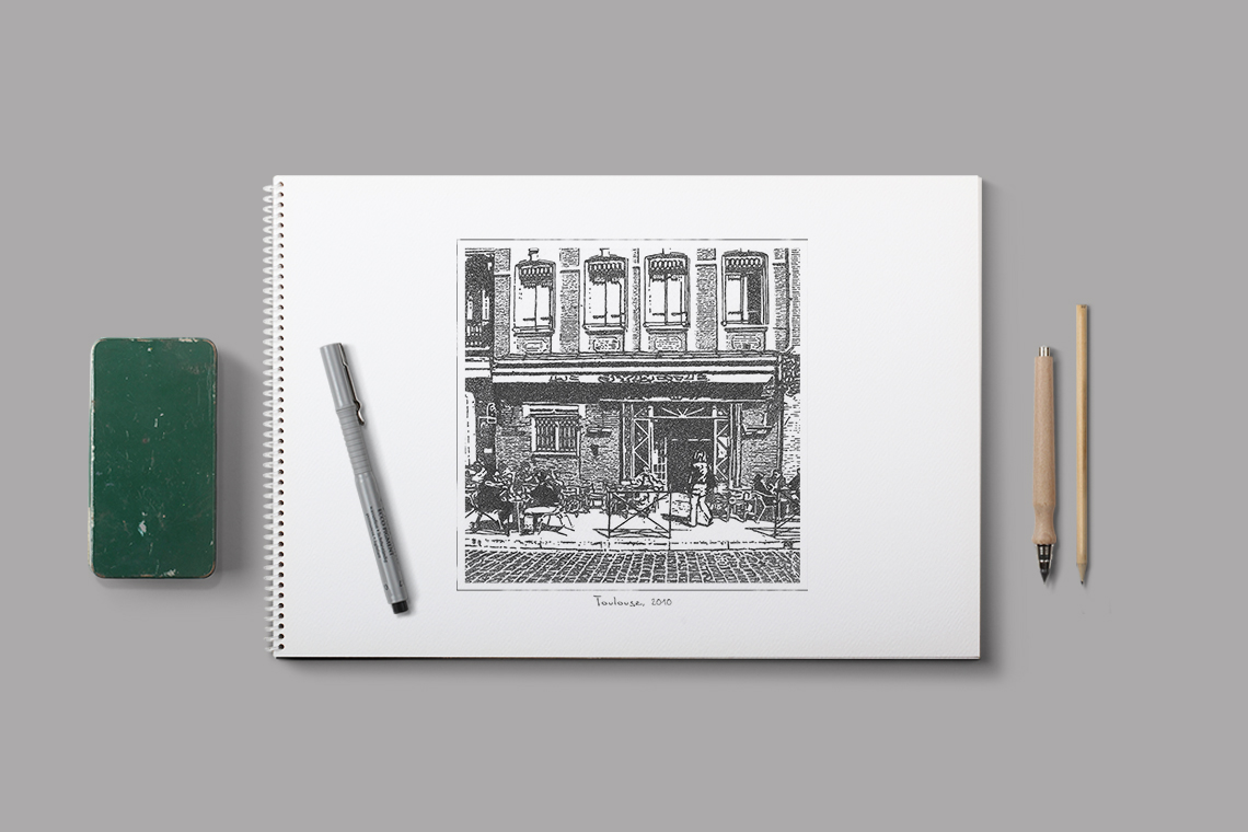 illustration-dessin-main-encre-cafe-ville-paysage-urbain-autograff-graphiste-freelance-toulouse