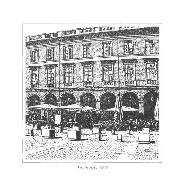 illustration-dessin-main-encre-parasols-fenetres-place-ville-paysage-urbain-autograff-graphiste-freelance-toulouse