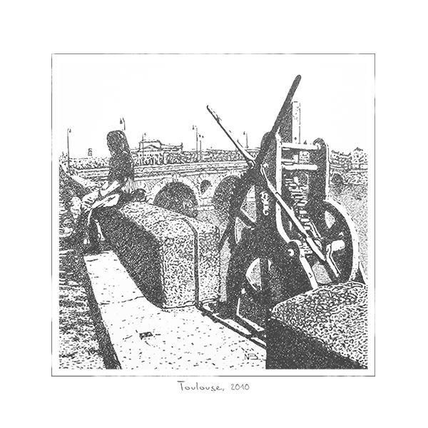 illustration-dessin-main-encre-vieux-pont-brique-ville-paysage-urbain-autograff-graphiste-freelance-toulouse