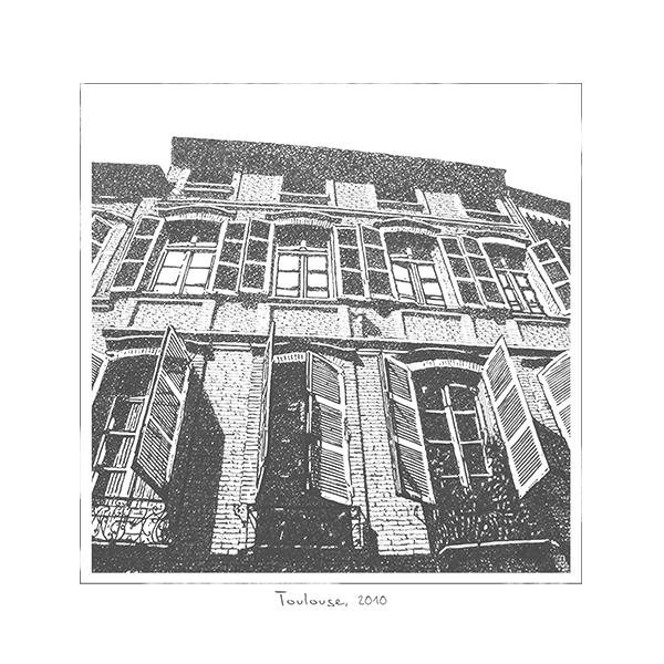 illustration-dessin-main-encre-volets-fenetres-ville-paysage-urbain-autograff-graphiste-freelance-toulouse