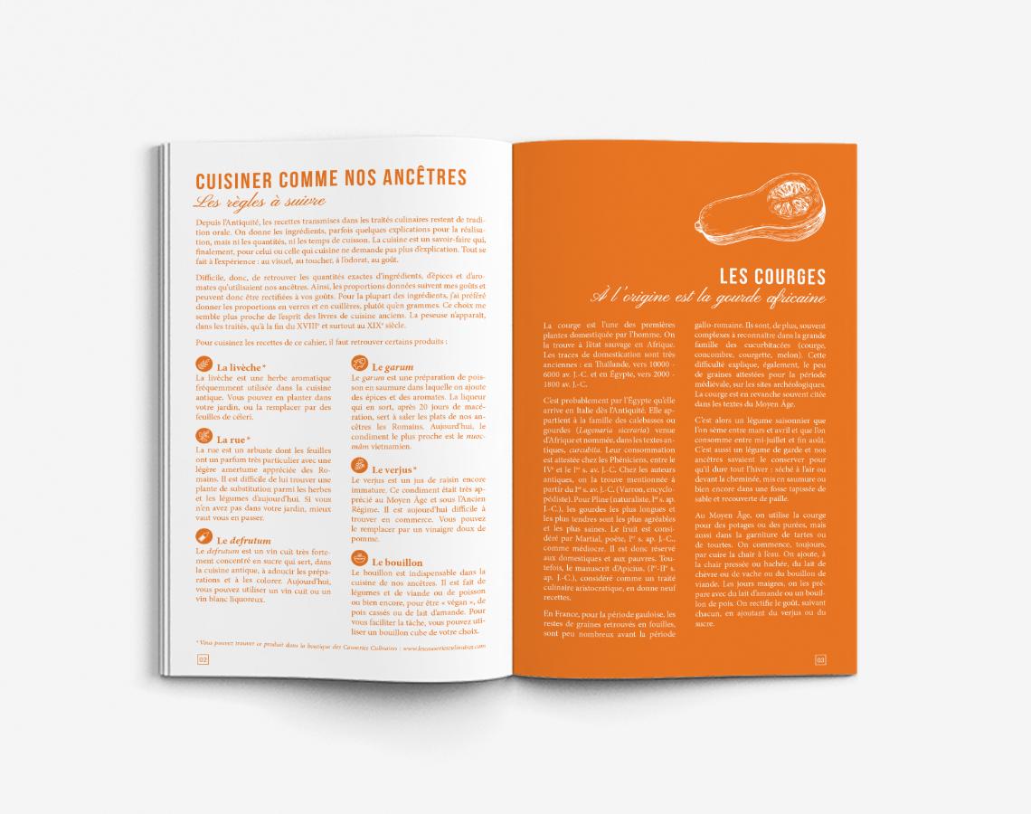 livret-recettes-historiques-couleur-orange-rouge-vert-livre-cuisine-design-autograff-graphiste-freelance-toulouse-ouverture-page-double-infos