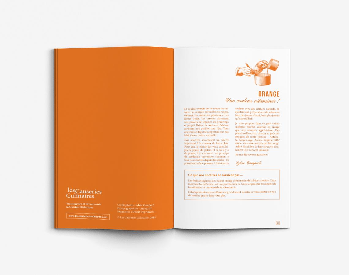 Livret Recettes Historiques Couleur Orange Rouge Vert Livre Cuisine Design Autograff Graphiste Freelance Toulouse Ouverture Page Double Intro Autograff Designer Graphique Freelance A Toulouse