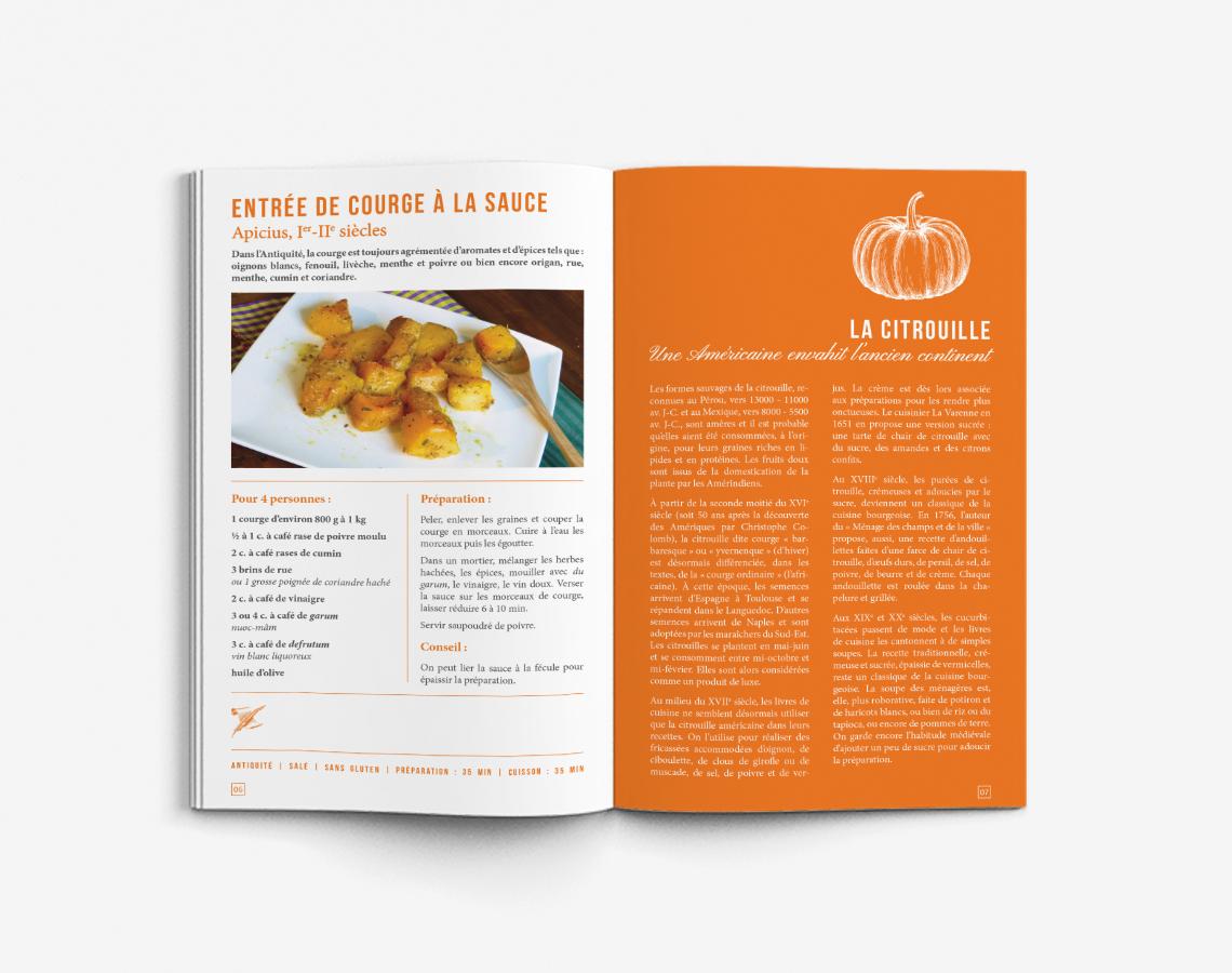 livret-recettes-historiques-couleur-orange-rouge-vert-livre-cuisine-design-autograff-graphiste-freelance-toulouse-ouverture-page-double-recette-simple