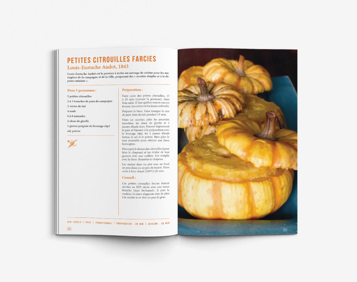 livret-recettes-historiques-couleur-orange-rouge-vert-livre-cuisine-design-autograff-graphiste-freelance-toulouse-ouverture-page-double-recette